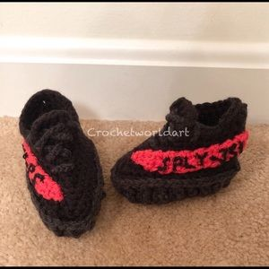 Other - Black and red crochet baby sneaker shoes